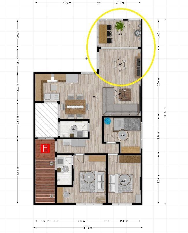drywall dos pisos dúplex